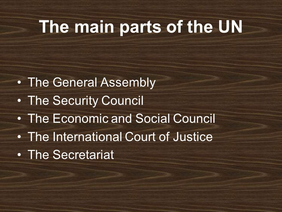 The main parts of the UN