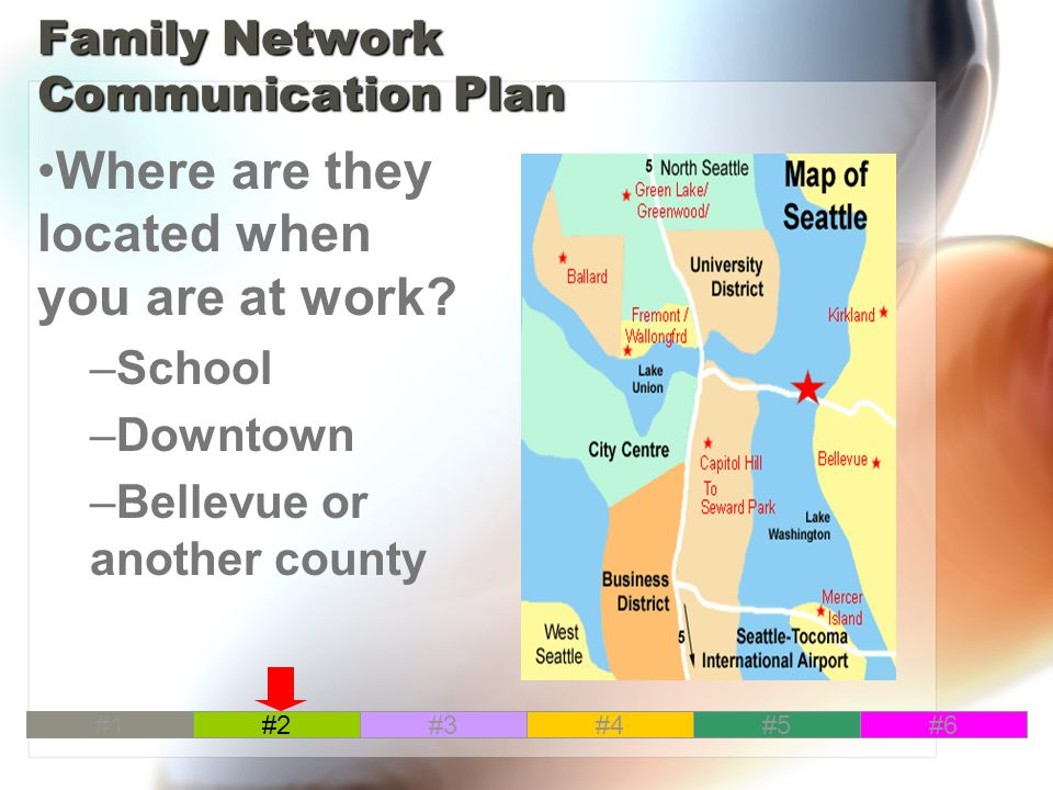 Family Network Communication Plan Where are they located when you are at work.