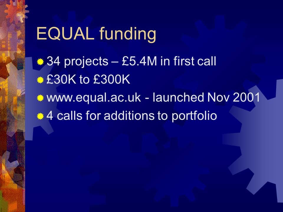EQUAL funding 34 projects – £5.4M in first call £30K to £300K www.equal.ac.uk - launched Nov 2001 4 calls for additions to portfolio