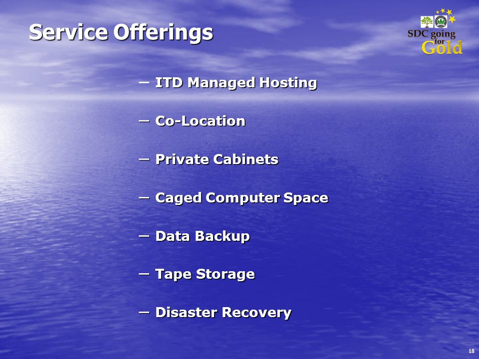 18 Service Offerings ITD Managed Hosting – ITD Managed Hosting – Co-Location – Private Cabinets – Caged Computer Space – Data Backup – Tape Storage – Disaster Recovery