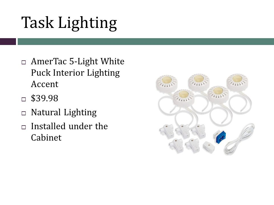 Task Lighting AmerTac 5-Light White Puck Interior Lighting Accent $39.98 Natural Lighting Installed under the Cabinet
