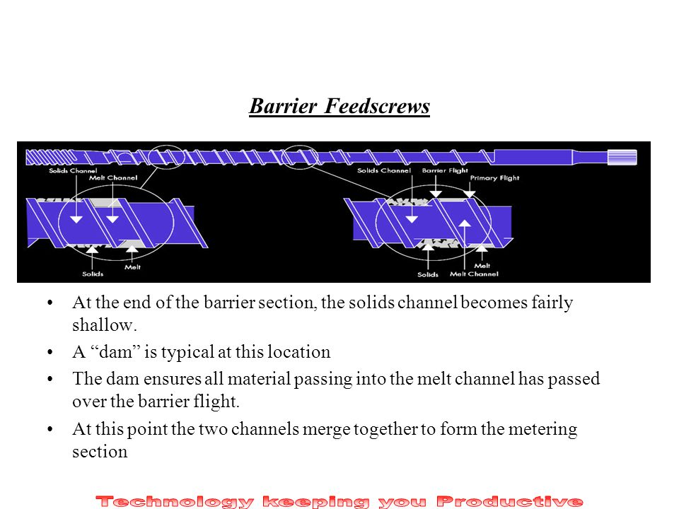 Barrier Feedscrews At the end of the barrier section, the solids channel becomes fairly shallow. A dam is typical at this location The dam ensures all