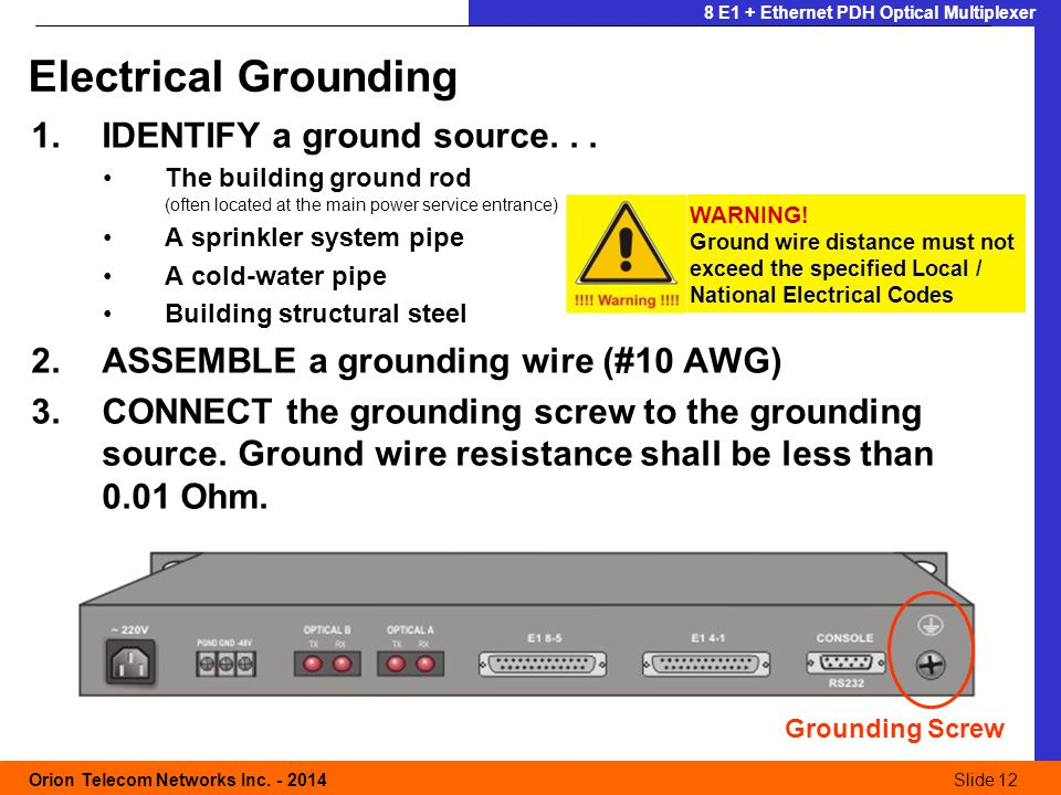 Slide 12 Orion Telecom Networks Inc. - 2014Slide 12 8 E1 + Ethernet PDH Optical Multiplexer 1.IDENTIFY a ground source... The building ground rod (oft