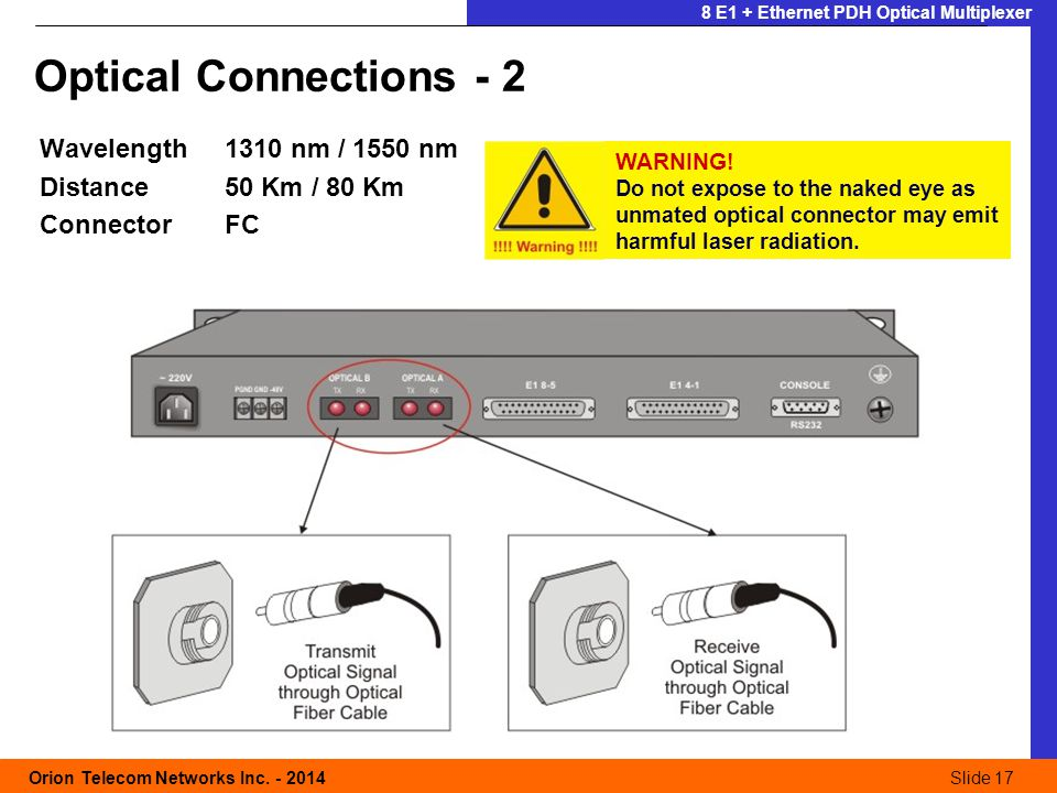 Slide 17 Orion Telecom Networks Inc. - 2014Slide 17 8 E1 + Ethernet PDH Optical Multiplexer Optical Connections - 2 Wavelength1310 nm / 1550 nm Distan