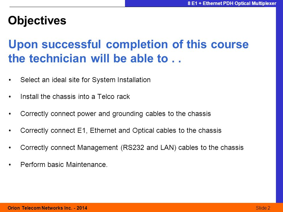 Slide 3 Orion Telecom Networks Inc.