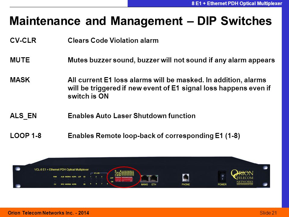 Slide 21 Orion Telecom Networks Inc. - 2014Slide 21 8 E1 + Ethernet PDH Optical Multiplexer Maintenance and Management – DIP Switches CV-CLRClears Cod