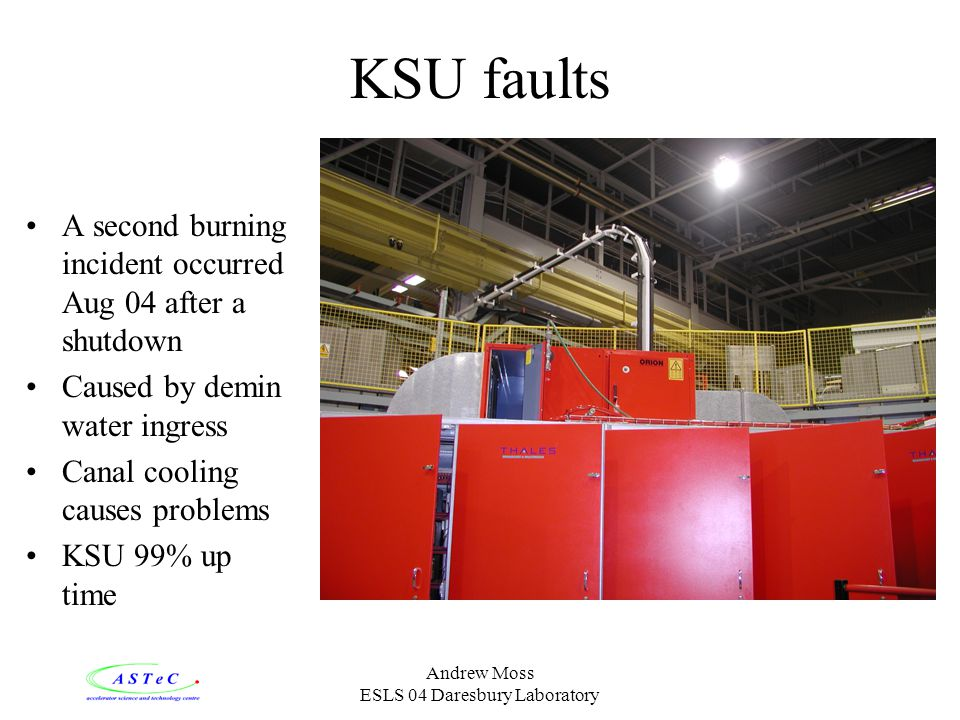 Andrew Moss ESLS 04 Daresbury Laboratory KSU faults A second burning incident occurred Aug 04 after a shutdown Caused by demin water ingress Canal cooling causes problems KSU 99% up time
