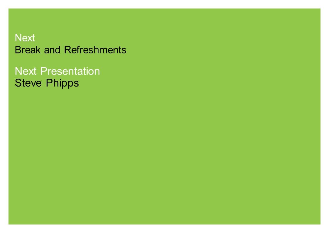 Next Break and Refreshments Next Presentation Steve Phipps
