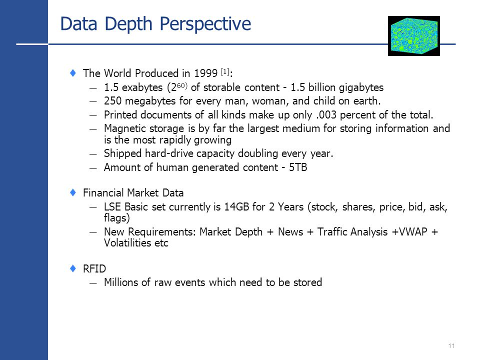 11 Data Depth Perspective The World Produced in 1999 [1] : 1.5 exabytes (2 60) of storable content - 1.5 billion gigabytes 250 megabytes for every man, woman, and child on earth.