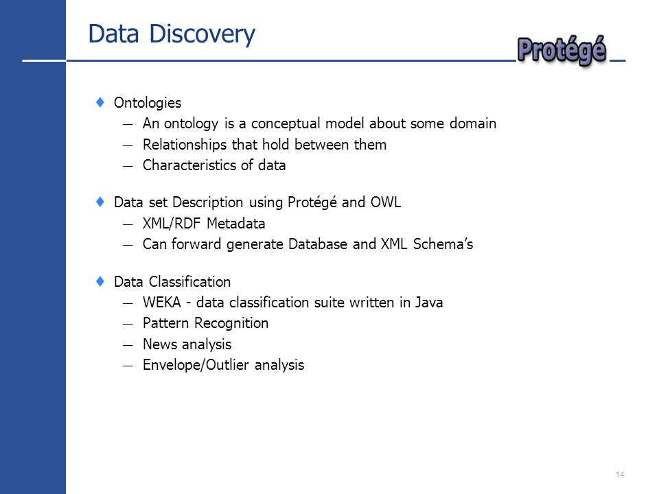 14 Data Discovery Ontologies An ontology is a conceptual model about some domain Relationships that hold between them Characteristics of data Data set Description using Protégé and OWL XML/RDF Metadata Can forward generate Database and XML Schemas Data Classification WEKA - data classification suite written in Java Pattern Recognition News analysis Envelope/Outlier analysis