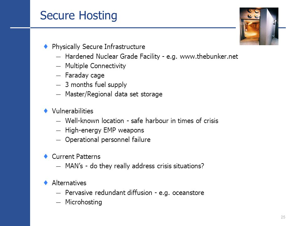 25 Secure Hosting Physically Secure Infrastructure Hardened Nuclear Grade Facility - e.g.