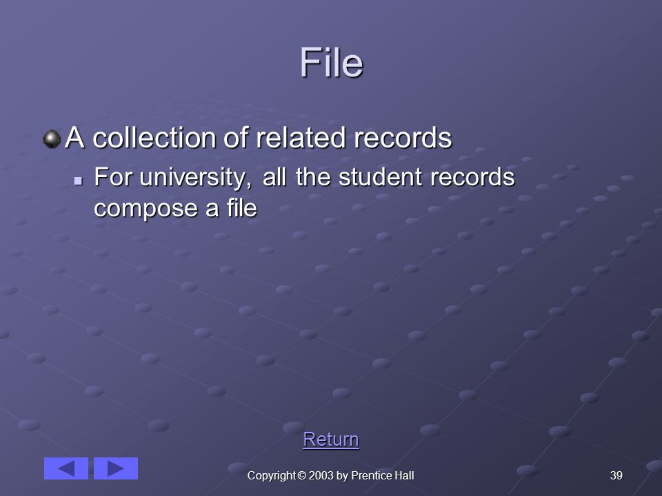 39Copyright © 2003 by Prentice Hall File A collection of related records For university, all the student records compose a file For university, all the student records compose a file Return