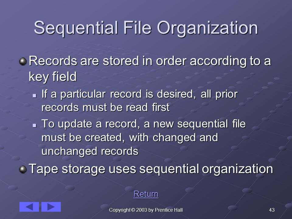 43Copyright © 2003 by Prentice Hall Sequential File Organization Records are stored in order according to a key field If a particular record is desired, all prior records must be read first If a particular record is desired, all prior records must be read first To update a record, a new sequential file must be created, with changed and unchanged records To update a record, a new sequential file must be created, with changed and unchanged records Tape storage uses sequential organization Return