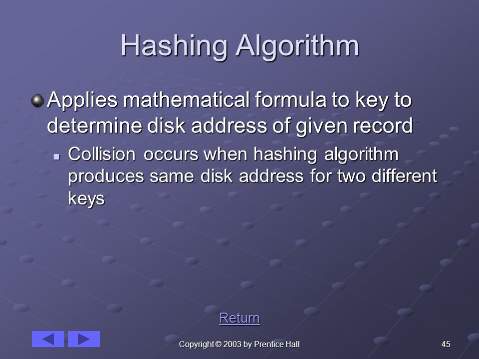 45Copyright © 2003 by Prentice Hall Hashing Algorithm Applies mathematical formula to key to determine disk address of given record Collision occurs when hashing algorithm produces same disk address for two different keys Collision occurs when hashing algorithm produces same disk address for two different keys Return