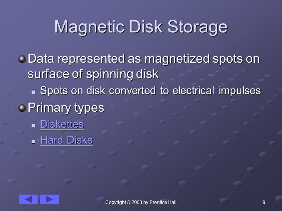 9Copyright © 2003 by Prentice Hall Magnetic Disk Storage Data represented as magnetized spots on surface of spinning disk Spots on disk converted to electrical impulses Spots on disk converted to electrical impulses Primary types Diskettes Diskettes Diskettes Hard Disks Hard Disks Hard Disks Hard Disks