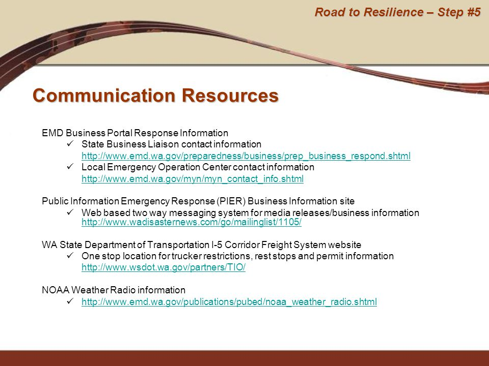 EMD Business Portal Response Information State Business Liaison contact information http://www.emd.wa.gov/preparedness/business/prep_business_respond.