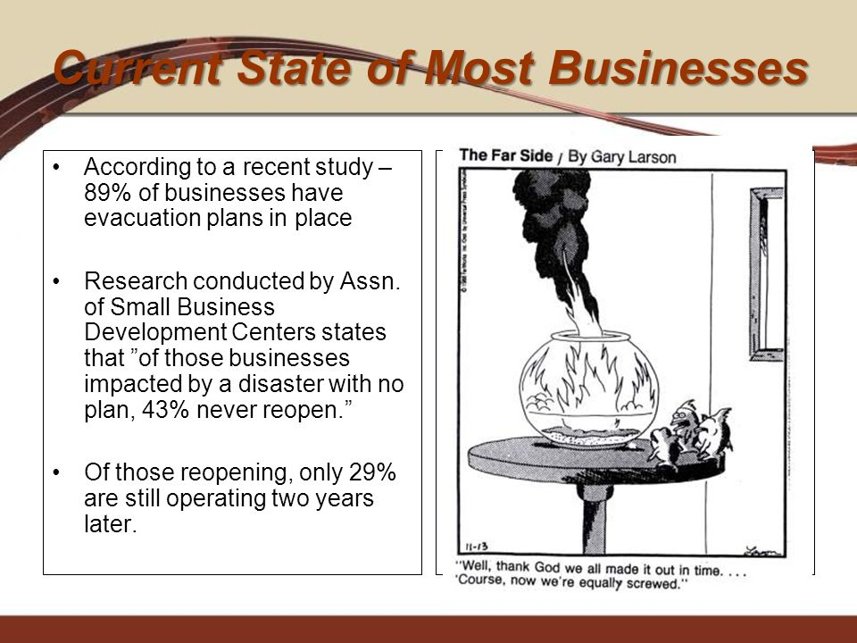 Current State of Most Businesses According to a recent study – 89% of businesses have evacuation plans in place Research conducted by Assn. of Small B