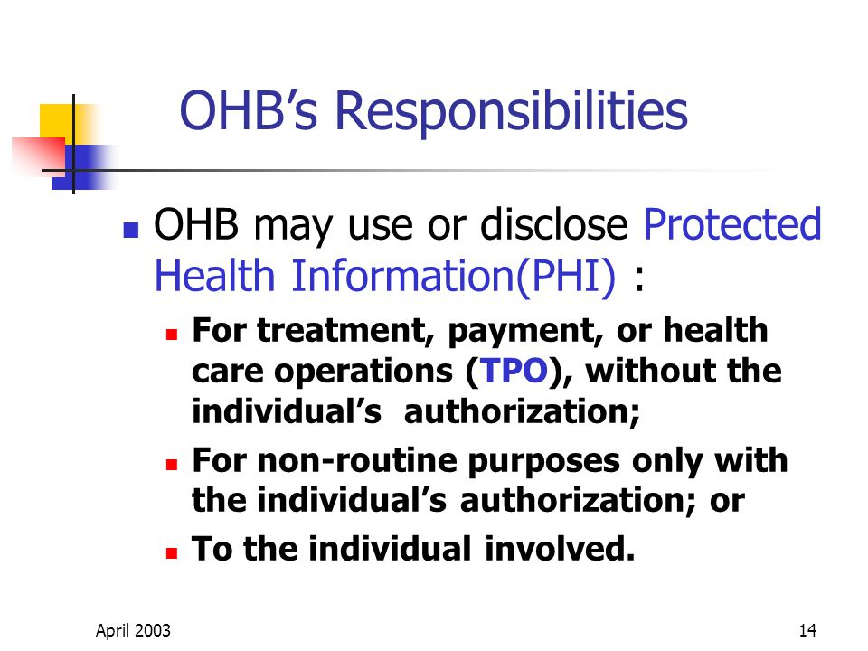 April 200314 OHB may use or disclose Protected Health Information(PHI) : For treatment, payment, or health care operations (TPO), without the individuals authorization; For non-routine purposes only with the individuals authorization; or To the individual involved.