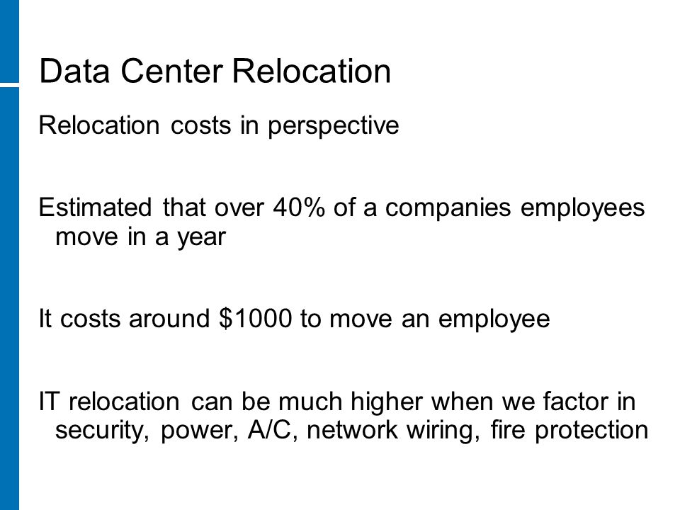 Data Center Relocation Questions