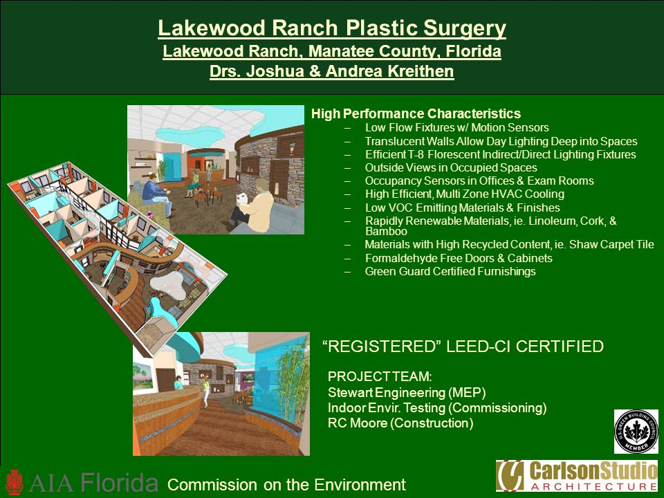Lakewood Ranch Plastic Surgery Lakewood Ranch, Manatee County, Florida Drs. Joshua & Andrea Kreithen High Performance Characteristics –Low Flow Fixtur