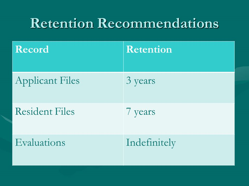 Retention Recommendations RecordRetention Applicant Files3 years Resident Files7 years EvaluationsIndefinitely