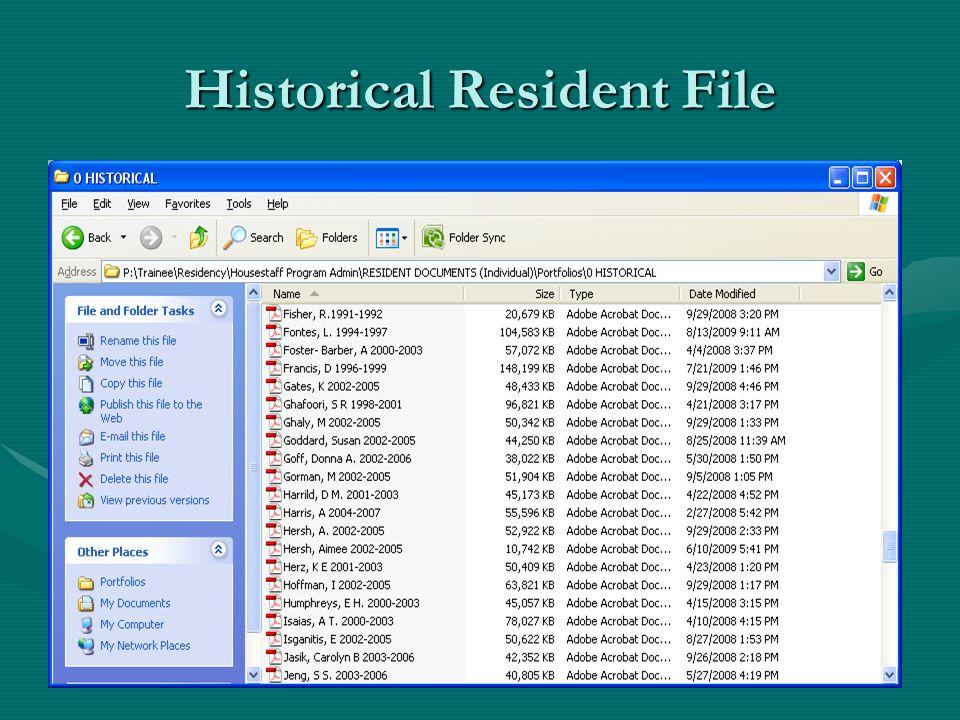 Historical Resident File