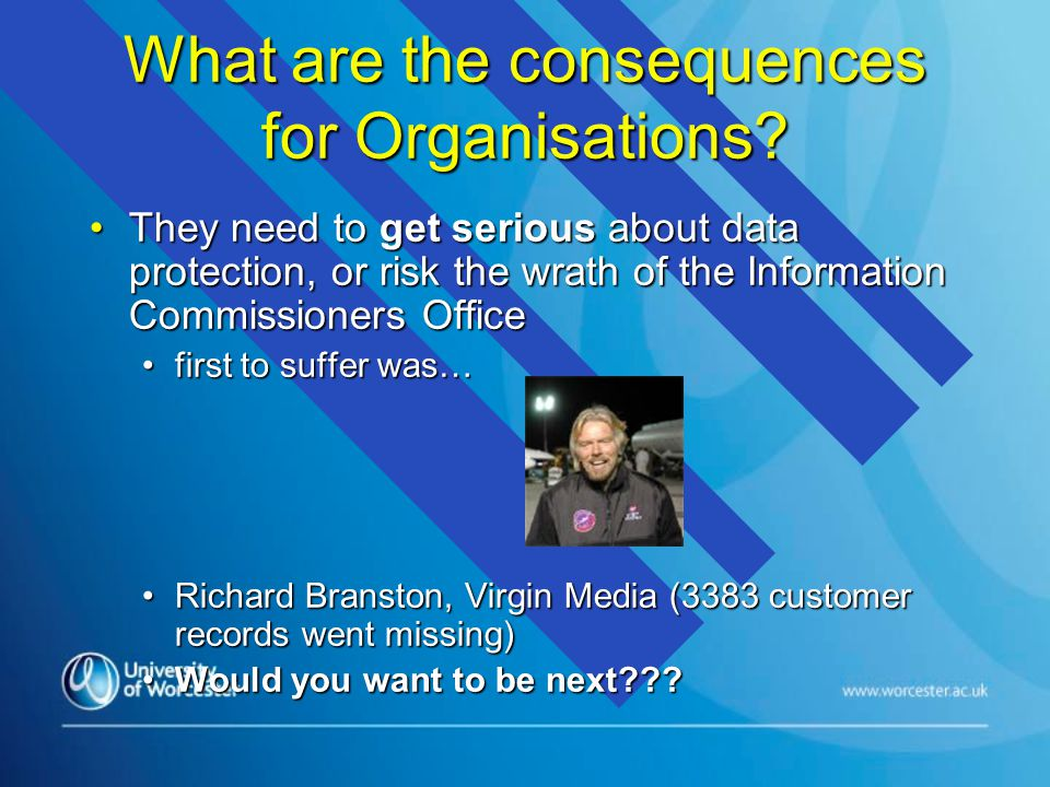 What are the consequences for Organisations.
