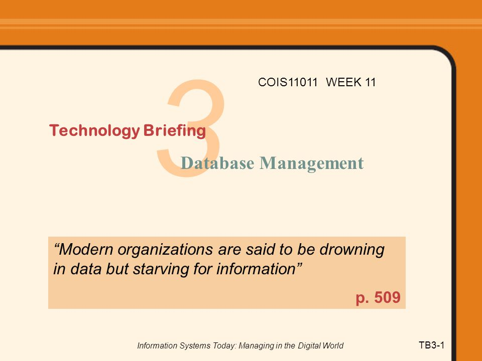 Information Systems Today: Managing in the Digital World TB3-12 Advantages of the Database Approach 1.