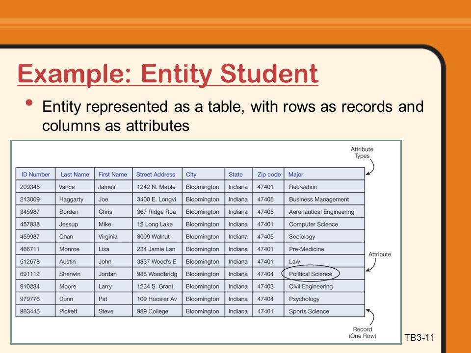 Information Systems Today: Managing in the Digital World TB3-11 Example: Entity Student Entity represented as a table, with rows as records and column
