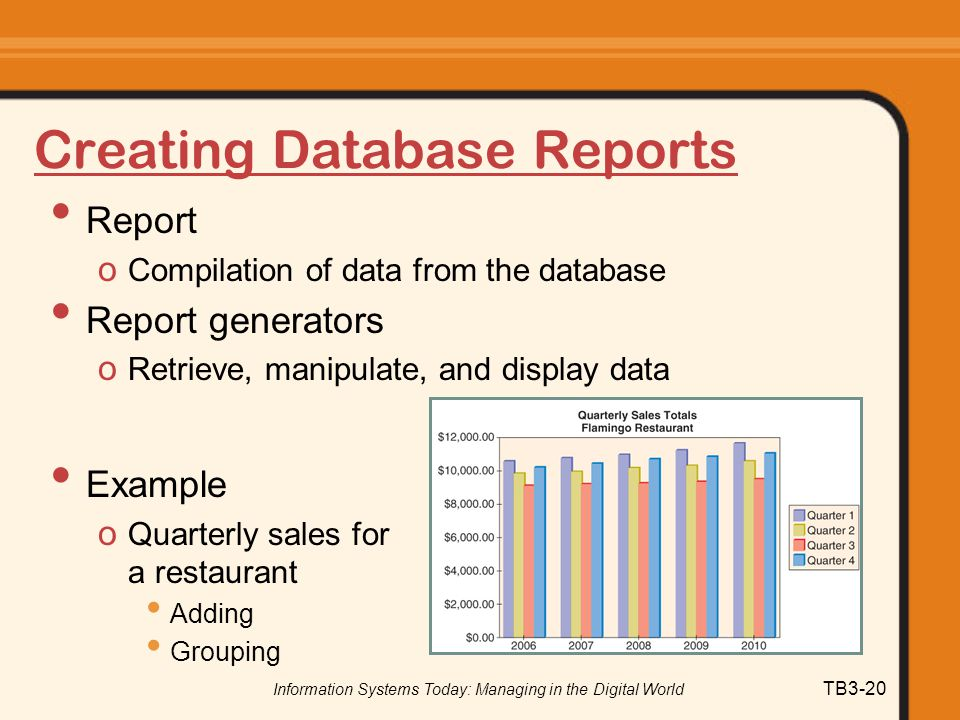 Information Systems Today: Managing in the Digital World TB3-20 Creating Database Reports Report o Compilation of data from the database Report genera