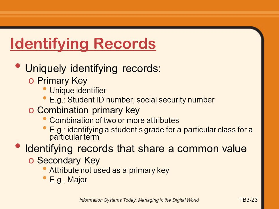Information Systems Today: Managing in the Digital World TB3-23 Identifying Records Uniquely identifying records: o Primary Key Unique identifier E.g.