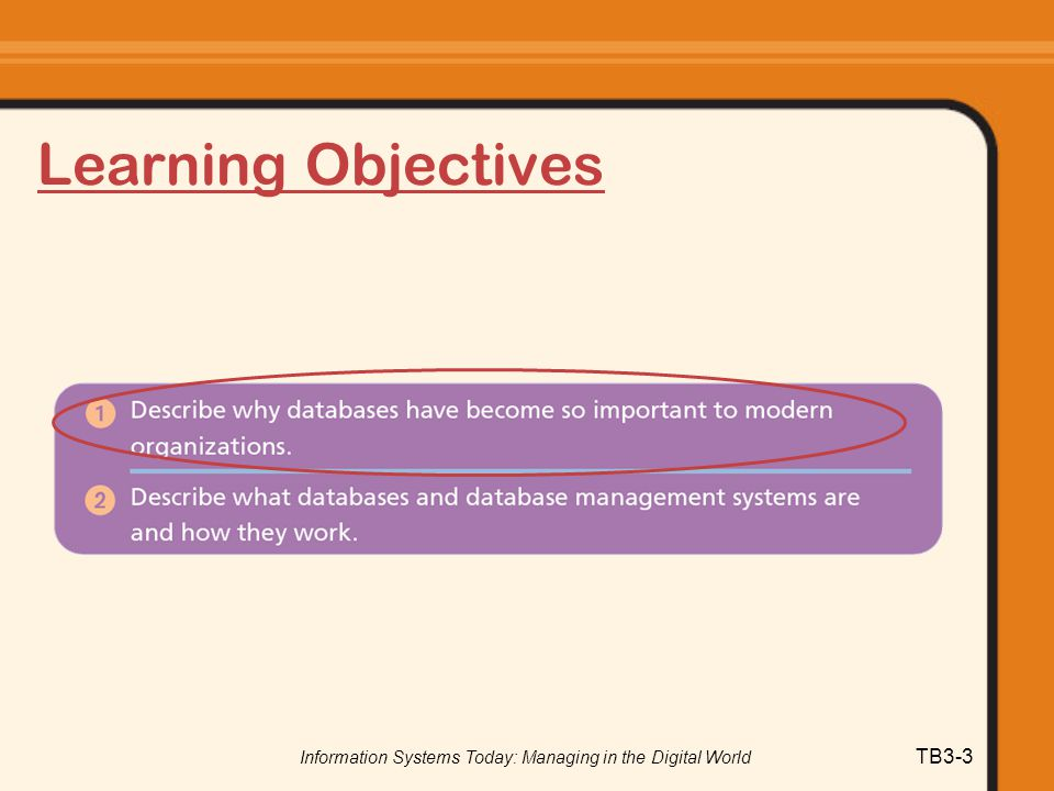 Information Systems Today: Managing in the Digital World TB3-3 Learning Objectives