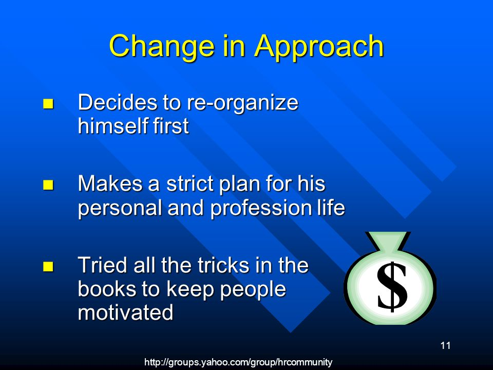 11 Change in Approach Decides to re-organize himself first Decides to re-organize himself first Makes a strict plan for his personal and profession life Makes a strict plan for his personal and profession life Tried all the tricks in the books to keep people motivated Tried all the tricks in the books to keep people motivated