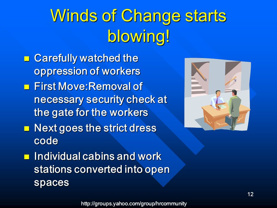 http://groups.yahoo.com/group/hrcommunity 12 Winds of Change starts blowing.