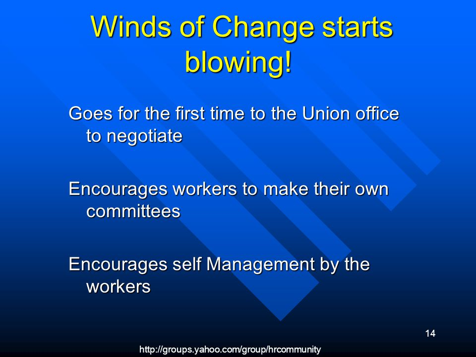 http://groups.yahoo.com/group/hrcommunity 14 Winds of Change starts blowing! Winds of Change starts blowing! Goes for the first time to the Union offi