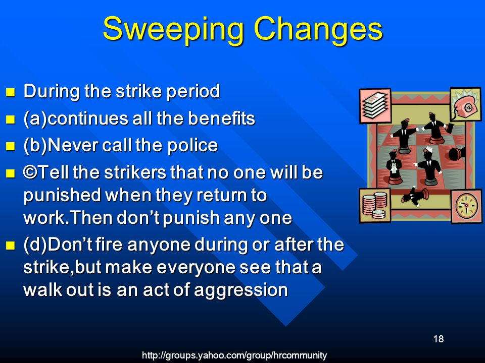 http://groups.yahoo.com/group/hrcommunity 18 Sweeping Changes During the strike period During the strike period (a)continues all the benefits (a)continues all the benefits (b)Never call the police (b)Never call the police ©Tell the strikers that no one will be punished when they return to work.Then dont punish any one ©Tell the strikers that no one will be punished when they return to work.Then dont punish any one (d)Dont fire anyone during or after the strike,but make everyone see that a walk out is an act of aggression (d)Dont fire anyone during or after the strike,but make everyone see that a walk out is an act of aggression