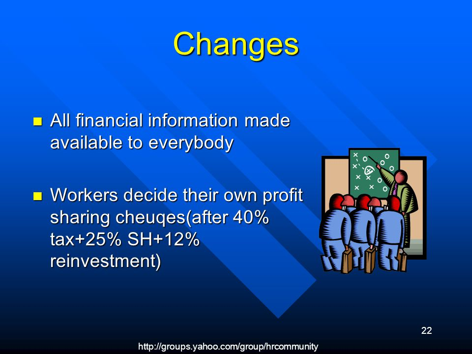 22 Changes All financial information made available to everybody All financial information made available to everybody Workers decide their own profit sharing cheuqes(after 40% tax+25% SH+12% reinvestment) Workers decide their own profit sharing cheuqes(after 40% tax+25% SH+12% reinvestment)