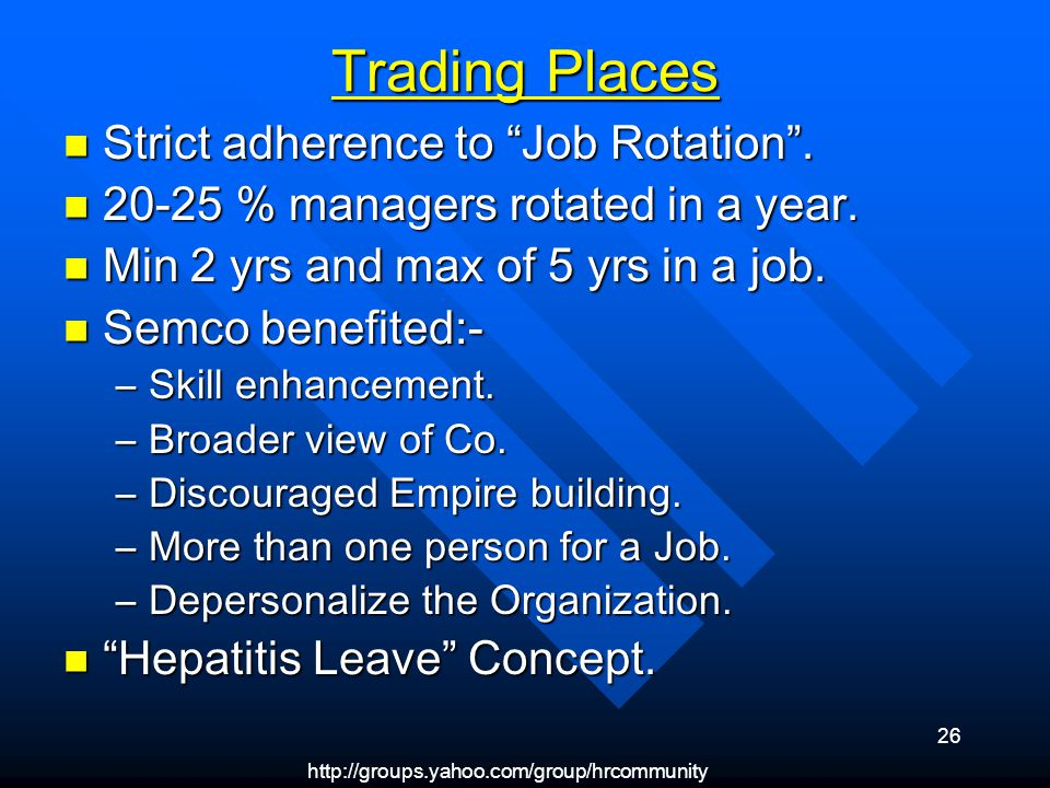 http://groups.yahoo.com/group/hrcommunity 26 Trading Places Strict adherence to Job Rotation. Strict adherence to Job Rotation. 20-25 % managers rotat