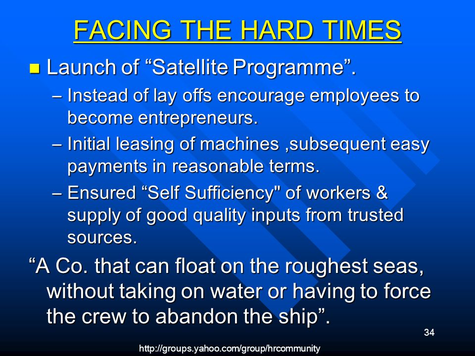 34 FACING THE HARD TIMES Launch of Satellite Programme.