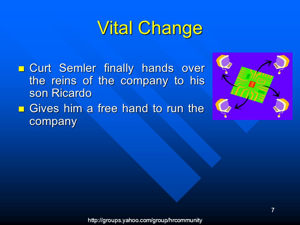 7 Vital Change Curt Semler finally hands over the reins of the company to his son Ricardo Curt Semler finally hands over the reins of the company to his son Ricardo Gives him a free hand to run the company Gives him a free hand to run the company