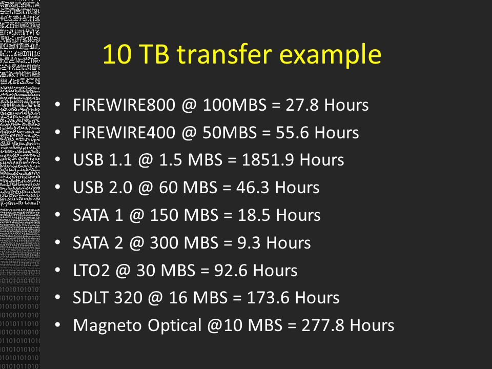 10 TB transfer example FIREWIRE800 @ 100MBS = 27.8 Hours FIREWIRE400 @ 50MBS = 55.6 Hours USB 1.1 @ 1.5 MBS = 1851.9 Hours USB 2.0 @ 60 MBS = 46.3 Hou