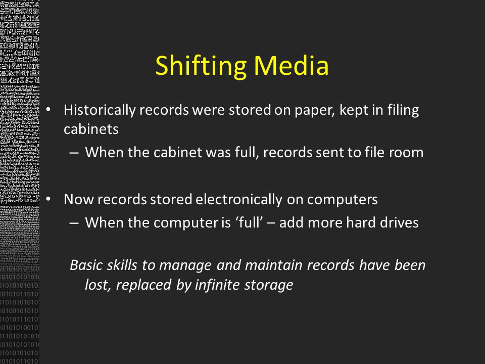 Clean and Prep Records Verify records for completeness Send rejects back to agency Assemble records for ingestion Create/note missing metadata Workflow for file conversion – Preservation file format – Presentation file format Move into database, backup