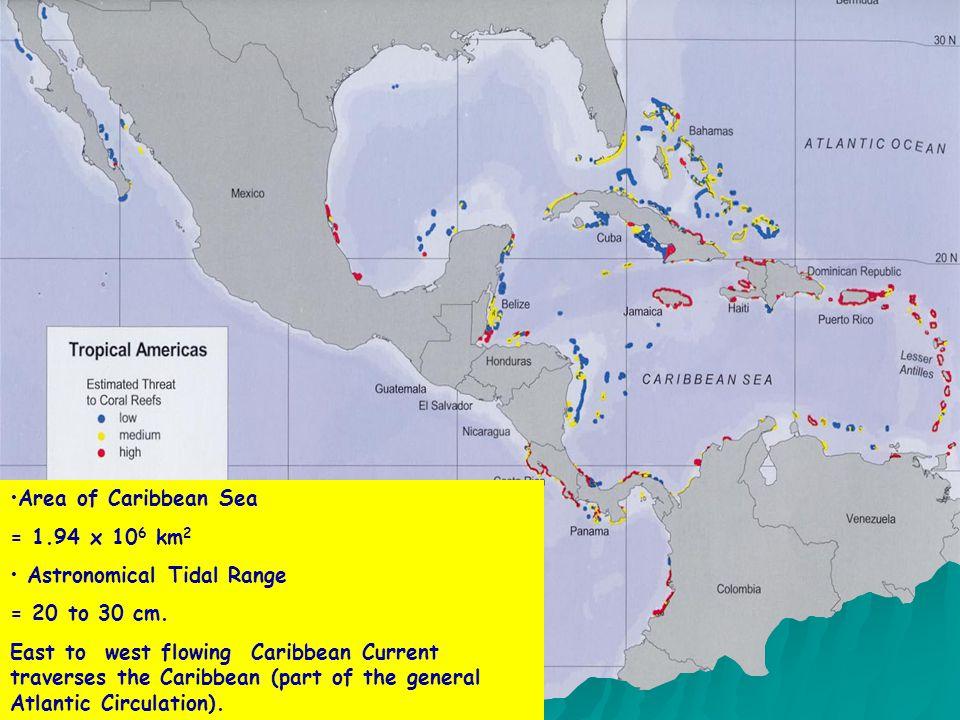 Area of Caribbean Sea = 1.94 x 10 6 km 2 Astronomical Tidal Range = 20 to 30 cm.
