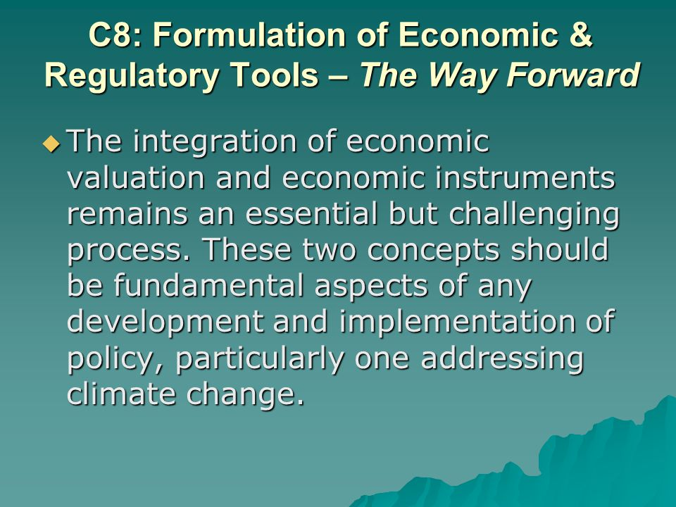 The integration of economic valuation and economic instruments remains an essential but challenging process.