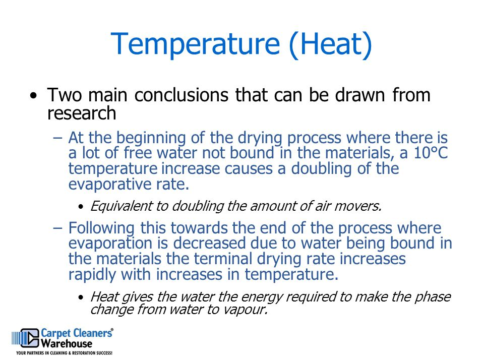 Temperature (Heat) Two main conclusions that can be drawn from research –At the beginning of the drying process where there is a lot of free water not