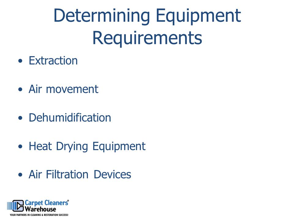 Determining Equipment Requirements Extraction Air movement Dehumidification Heat Drying Equipment Air Filtration Devices