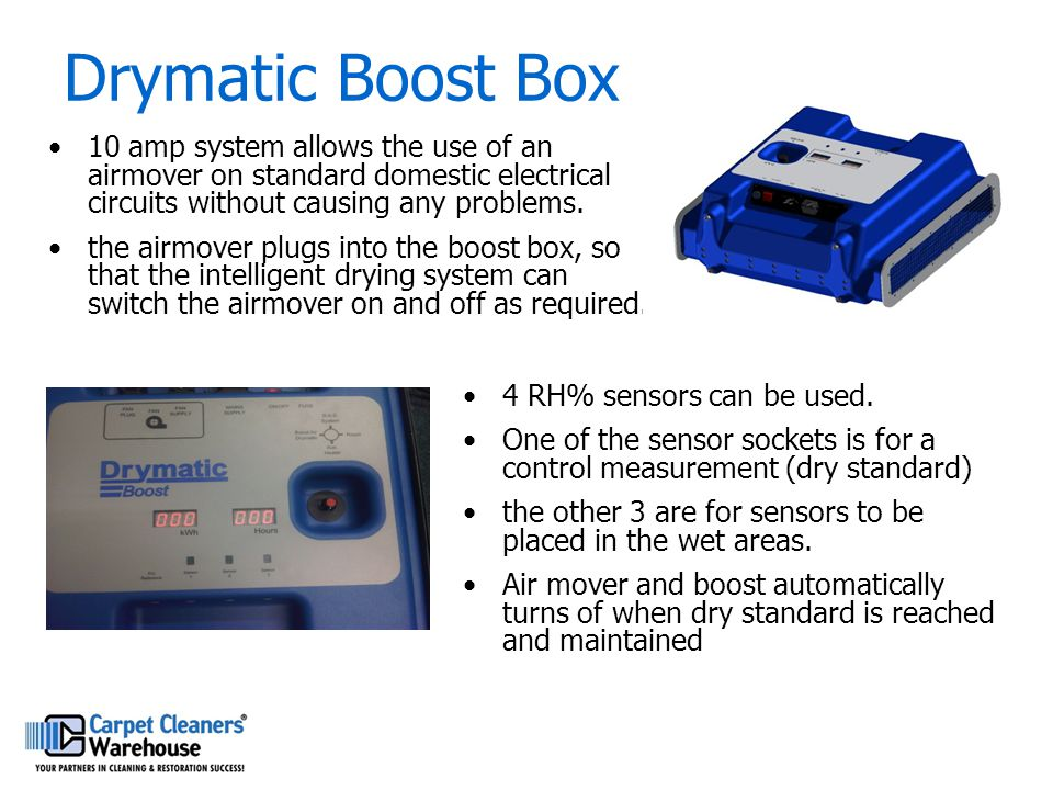Drymatic Boost Box 10 amp system allows the use of an airmover on standard domestic electrical circuits without causing any problems. the airmover plu