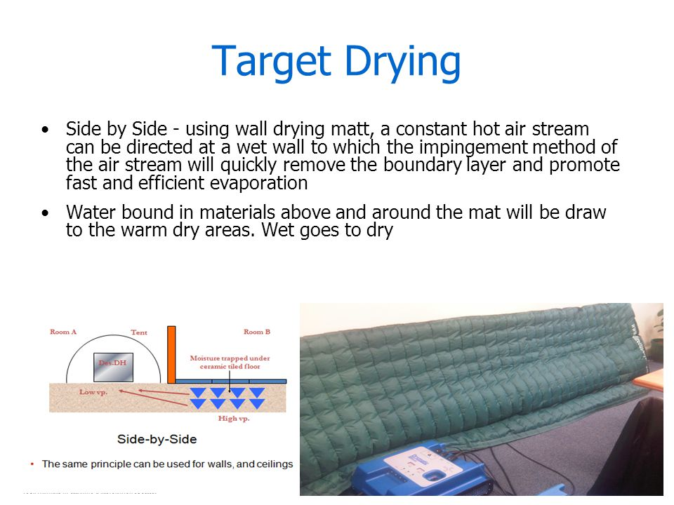 Target Drying Side by Side - using wall drying matt, a constant hot air stream can be directed at a wet wall to which the impingement method of the ai