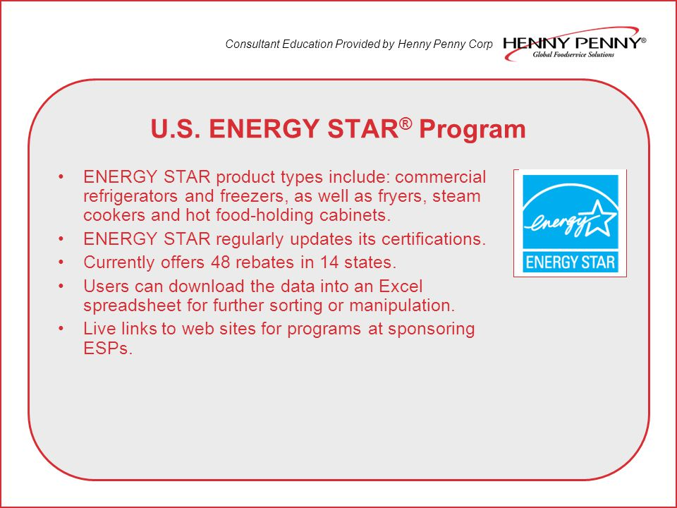 Consultant Education Provided by Henny Penny Corp ENERGY STAR Rating Qualifications Gas and electric open fryers that have earned an ENERGY STAR certification are up to 25% more energy-efficient than standard models.