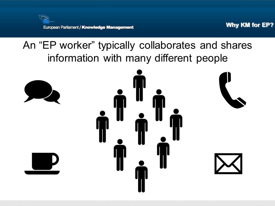 An EP worker typically collaborates and shares information with many different people Why KM for EP?